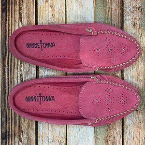 Minnetonka Leila Slip On Leather Suede Mule Loafer